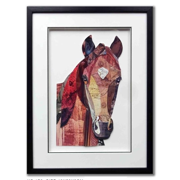 Schilderij Paper Art 'Paardenhoofd'