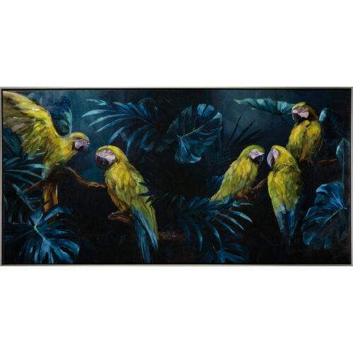 Schilderij 'Parrots in blue jungle'