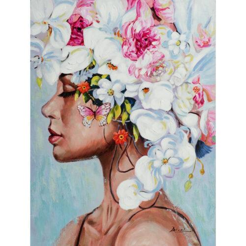 Schilderij 'Vrouw met bloemen'