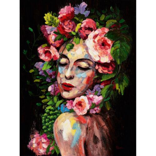 Schilderij 'Vrouw met bloemen I'
