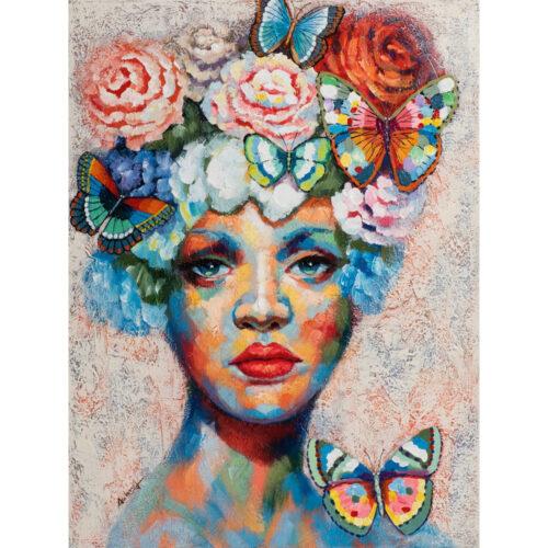 Schilderij 'Vrouw met bloemen en vlinders'