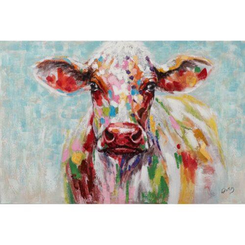 Schilderij op linnen 'Kleurrijke koe'