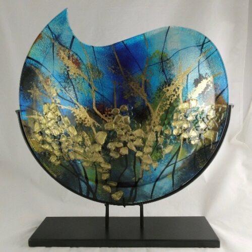 Design glas handbeschilderd vaas maanvorm 'Aqua'