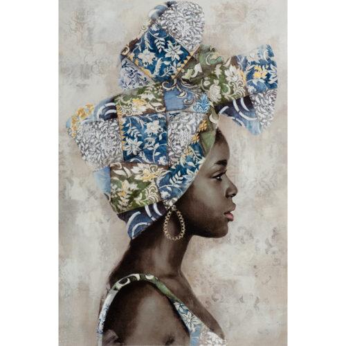 Schilderij 'Beauty with blue turban'