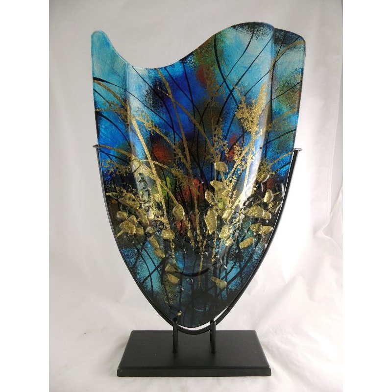 Design glas handbeschilderd vaas hoog 'Aqua'