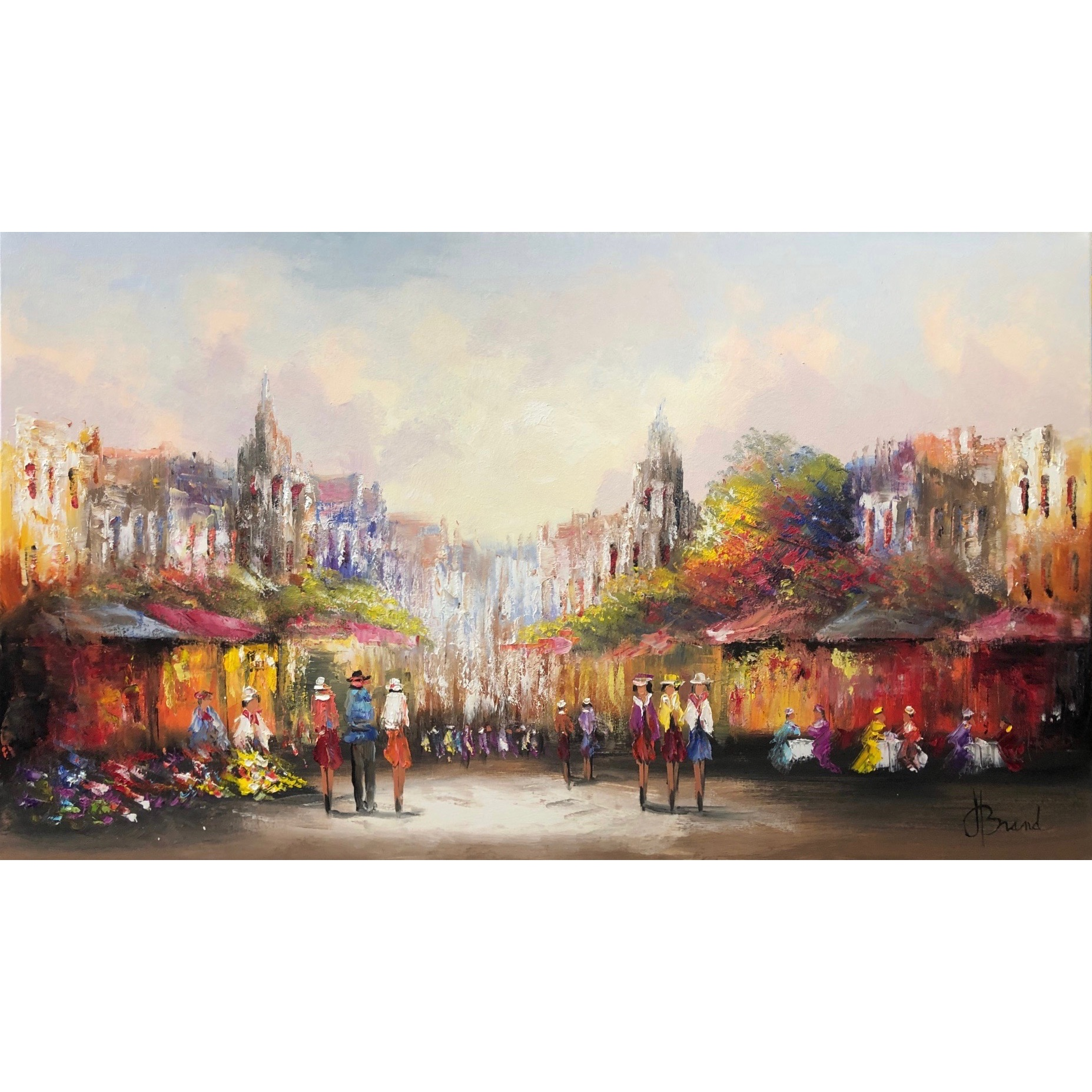 Henry Brand schilderij 'Flower Market'