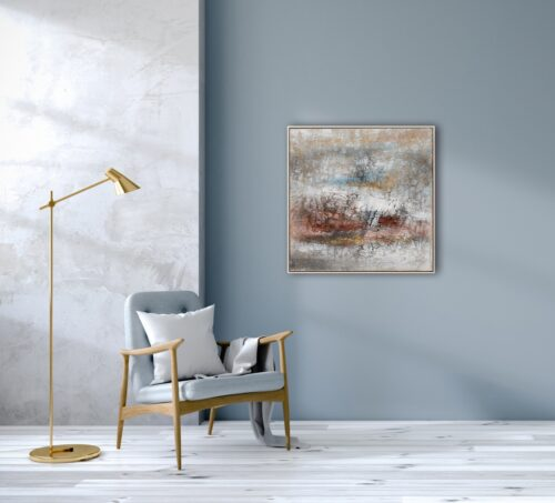 Schilderij 'Abstract in gold, rose and blue'