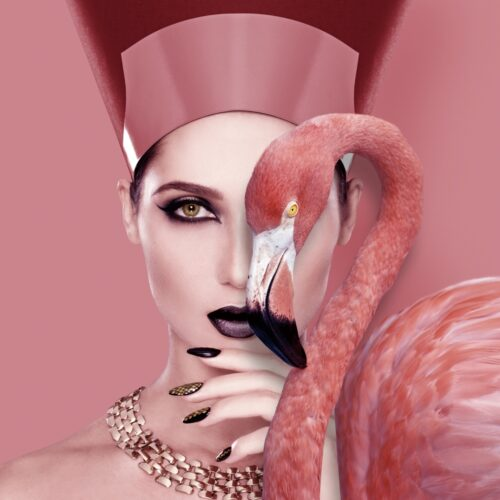 Foto op glas 'Cleopatra with flamingo'