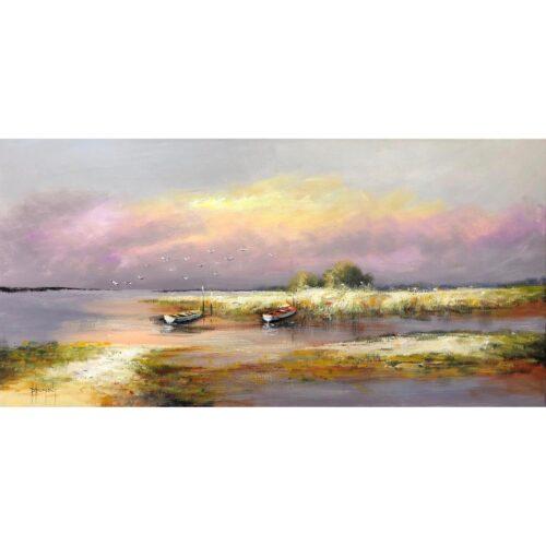 D. Dumont schilderij 'Langs het water'