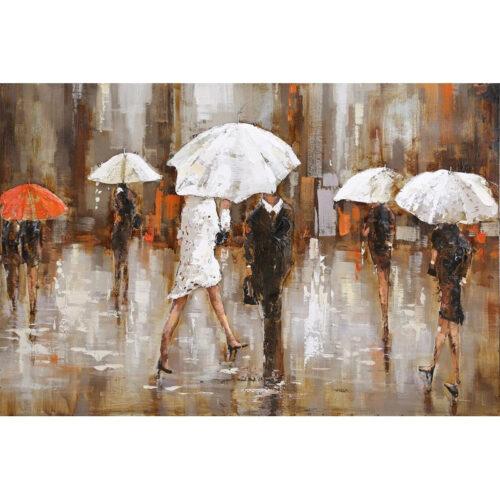 Metal Art 3D schilderij 'Walking in the rain'