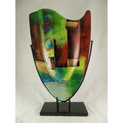 Design glas handbeschilderd vaas hoog 'Artwork'