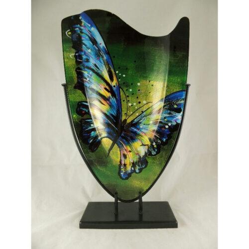 Design glas handbeschilderd vaas hoog 'Butterfly'