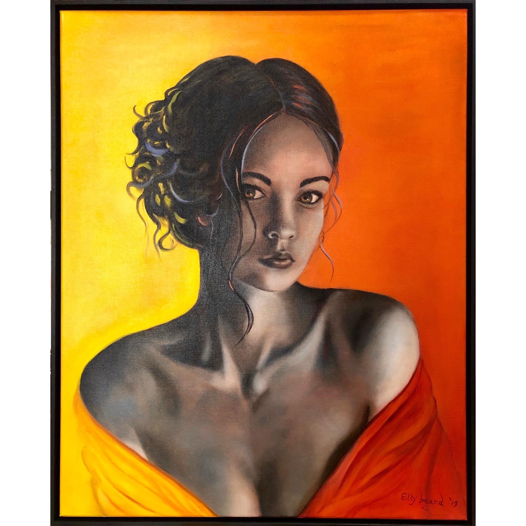 Elly Baard olieverf schilderij 'Yellow and Orange'