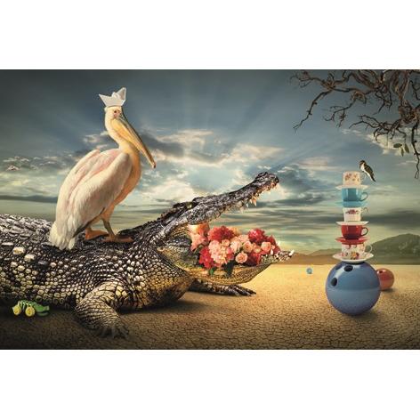 Foto op aluminium 'Vegan Krokodil'