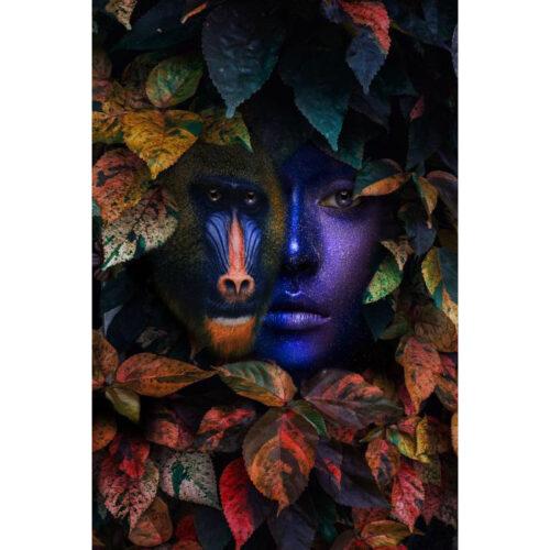 Foto op glas 'Purple faces'