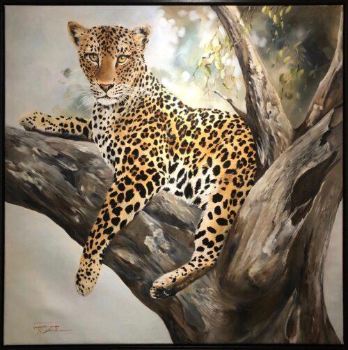 Vanessa Lomas schilderij 'Leopard cub in tree'