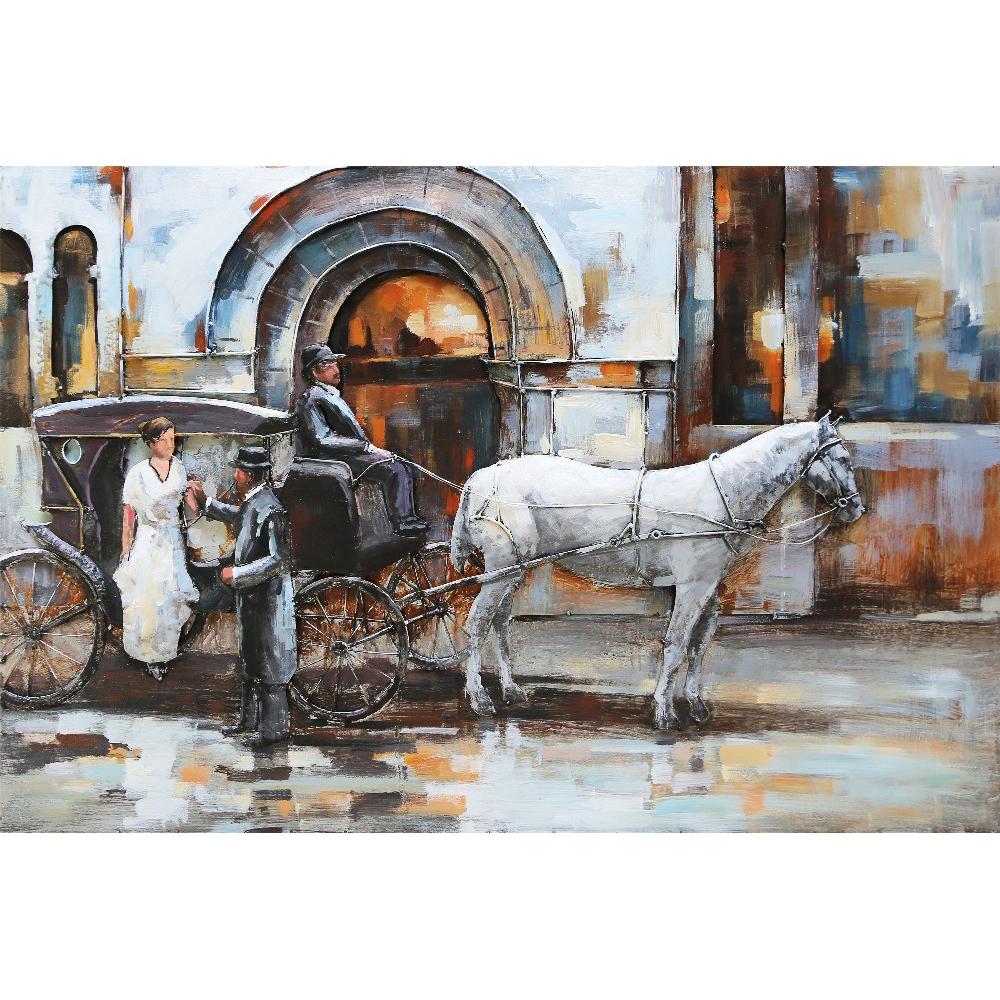 Metal Art 3D schilderij 'Paard en wagen'