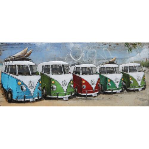 Metal Art 3D schilderij 'VW on the beach'