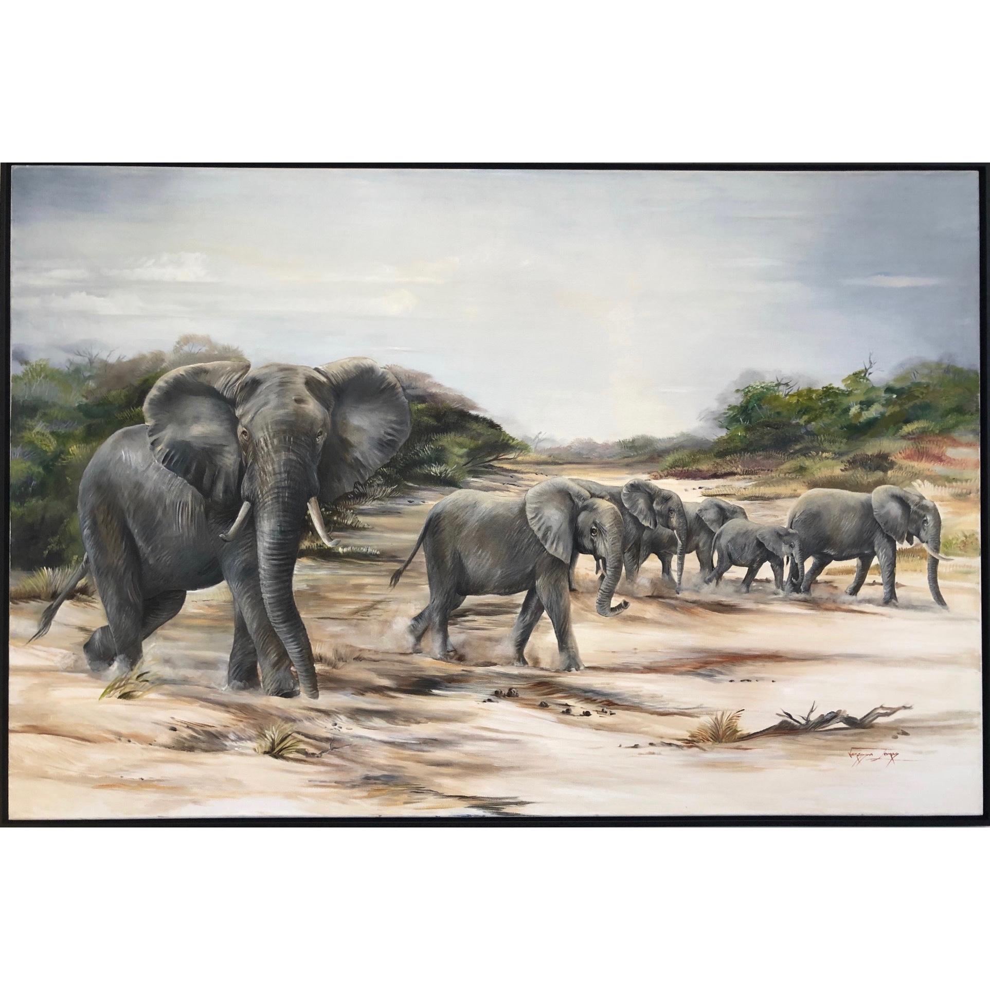 Vanessa Lomas schilderij 'Across the riverbed'