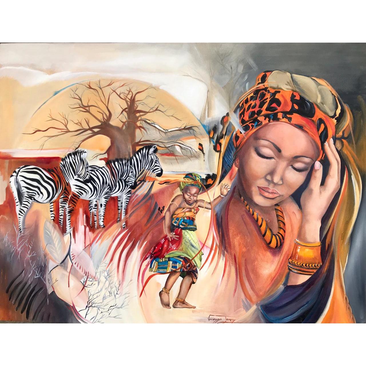 Vanessa Lomas schilderij 'Childhood memories'