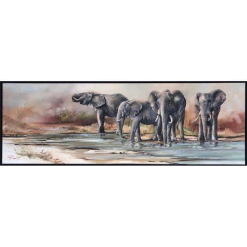 Vanessa Lomas schilderij 'Elephant in river'