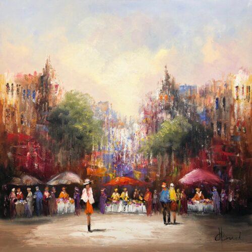 Henry Brand schilderij 'Terras op de markt'