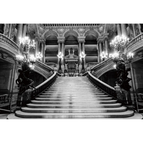 Foto op glas 'Staircase in a castle'