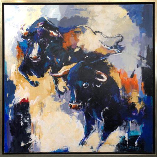 Ricky Damen schilderij 'Purple Bull'