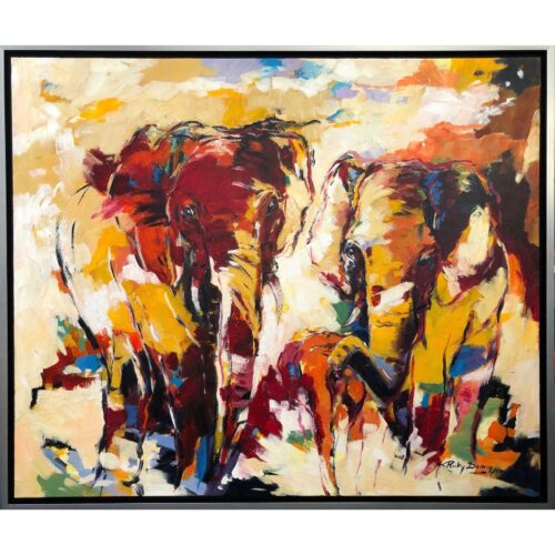 Ricky Damen schilderij 'Colorful Elephants'