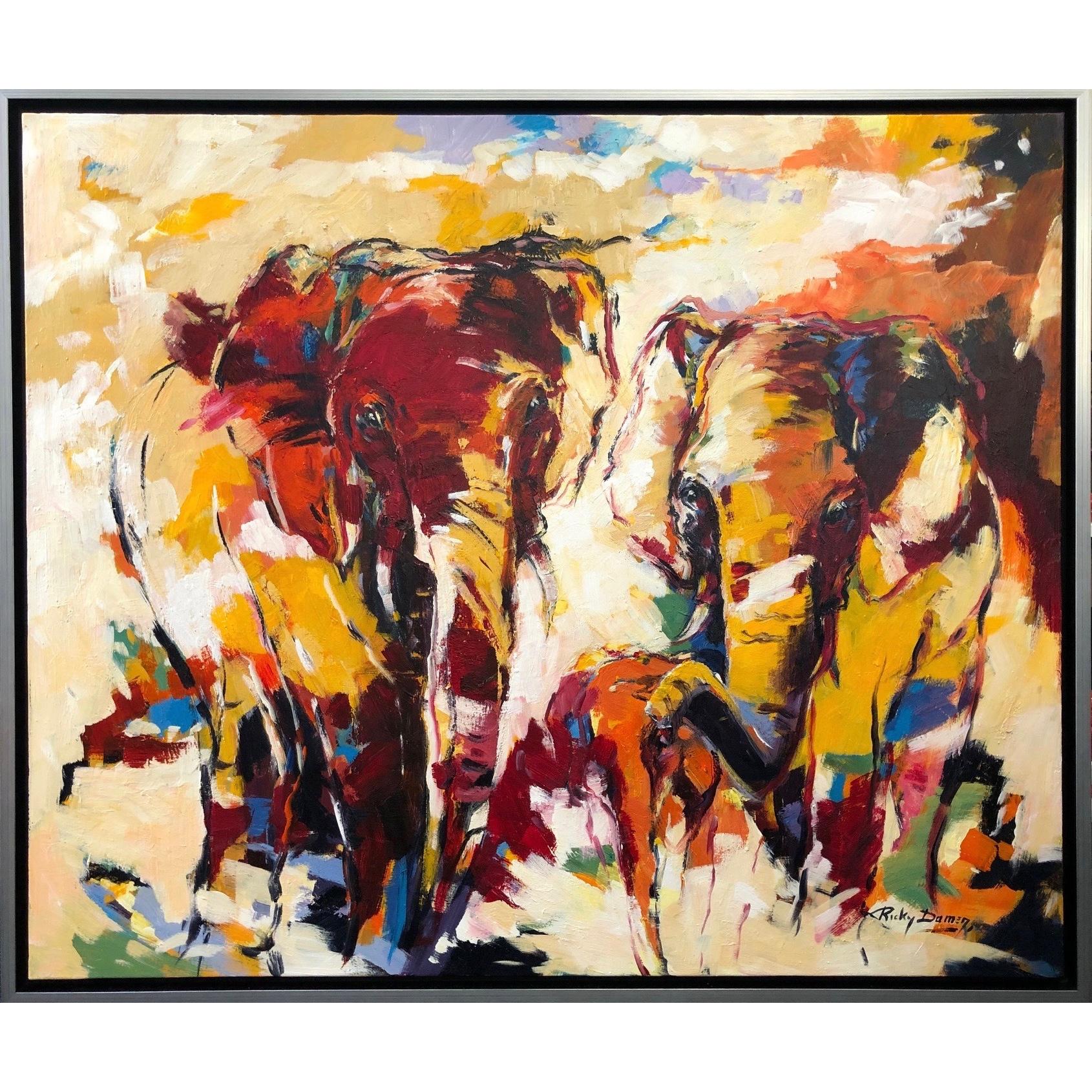 Ricky Damen schilderij 'Colorful Elephants'