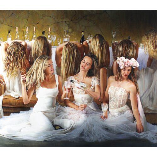 Tos Kostermans schilderij 'Three Brides on a wedding'