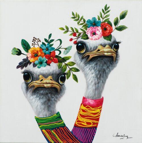 Schilderij 'Struisvogels met bloemen'