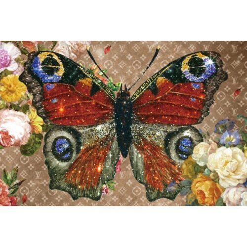 Foto op glas 'Louis Vuitton Butterfly'