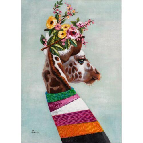 Schilderij 'Flower Giraffe'