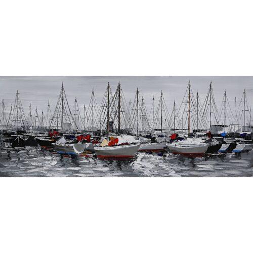 Schilderij 'Zeilboten in de haven II'