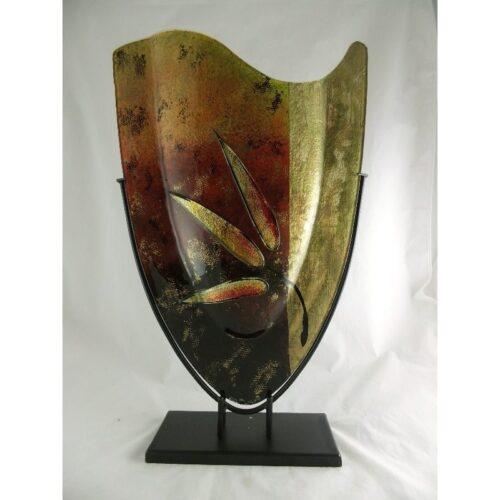 Design glas handbeschilderd vaas hoog 'Leaf'