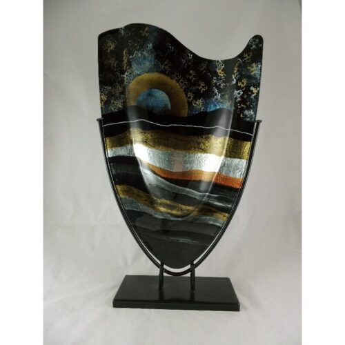 Design glas handbeschilderd vaas hoog 'Sunrise'