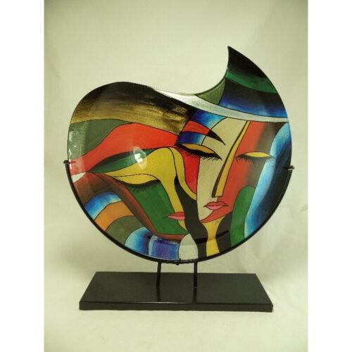 Design glas handbeschilderd vaas maanvorm 'Faces'