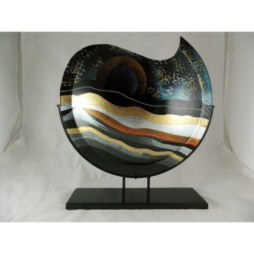 Design glas handbeschilderd vaas maanvorm 'Sunrise'