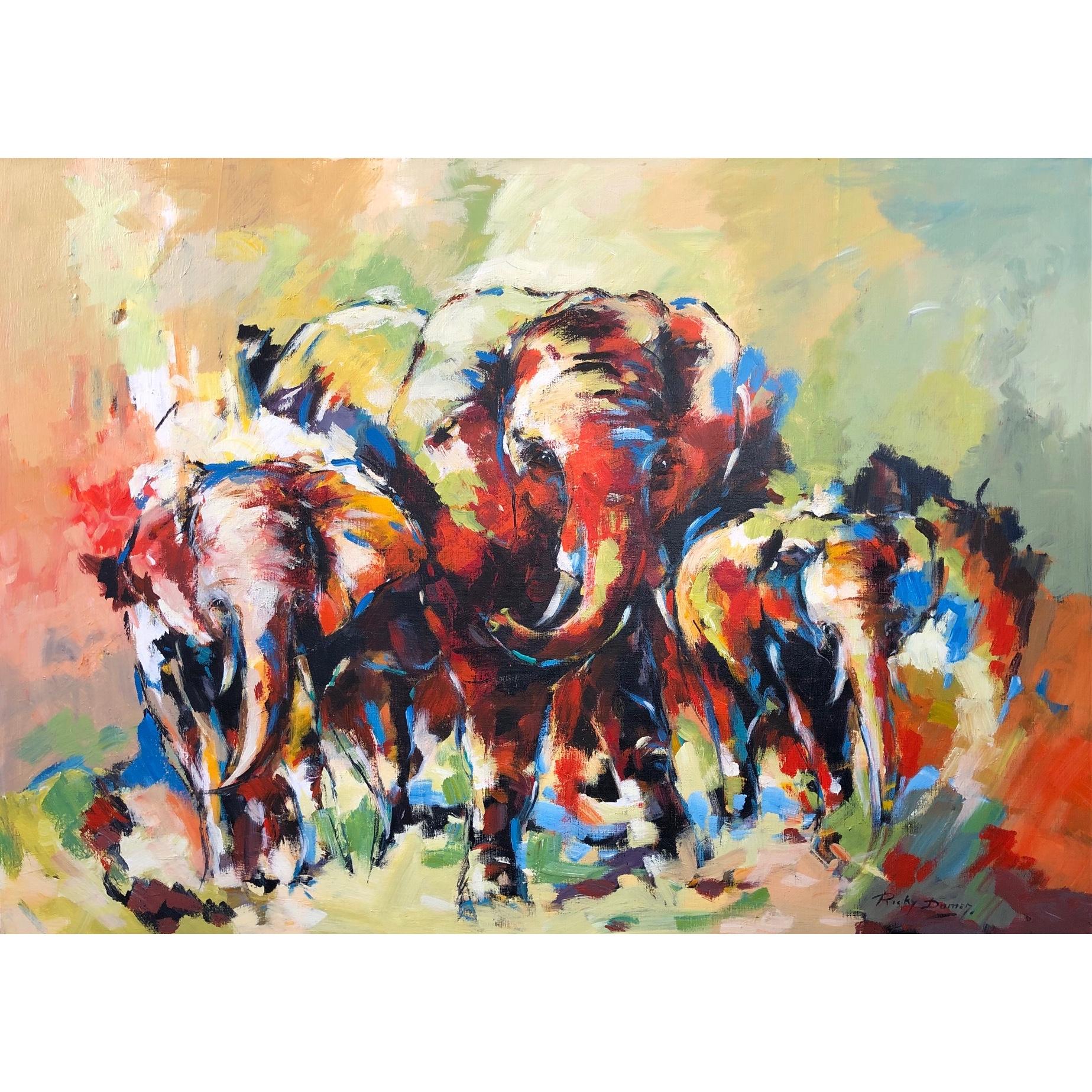 Ricky Damen schilderij 'Elephant herd'