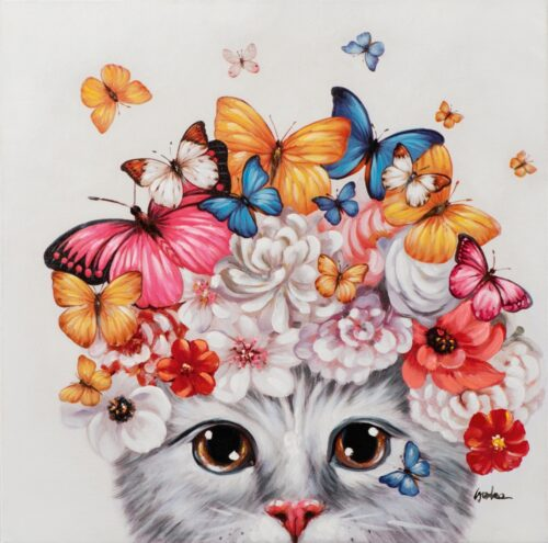 Schilderij 'Kitten met vlinders'