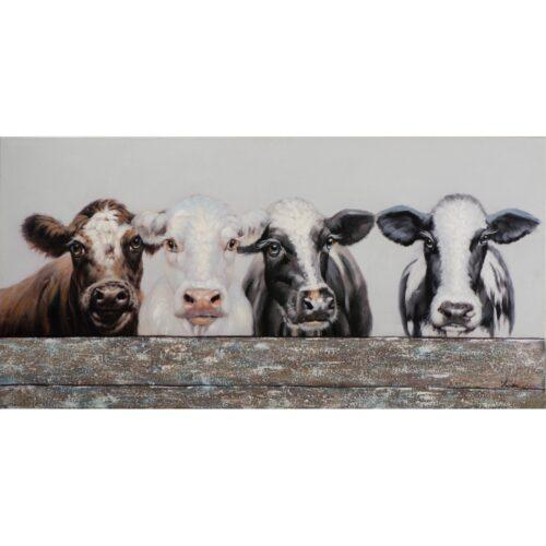 Schilderij 'Koeien achter hek'