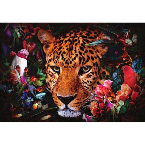 Foto op glas 'Leopard between flowers'