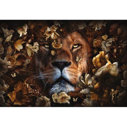 Foto op glas 'Lion between flowers'