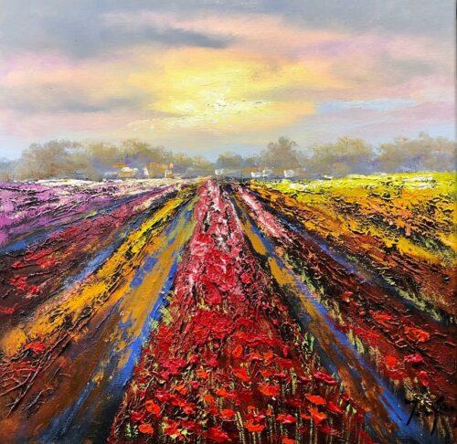 Jochem de Graaf schilderij 'Bollenvelden'