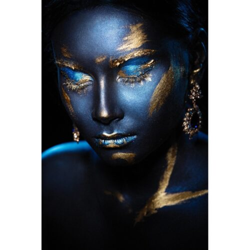 Foto op glas 'Blue and Gold'