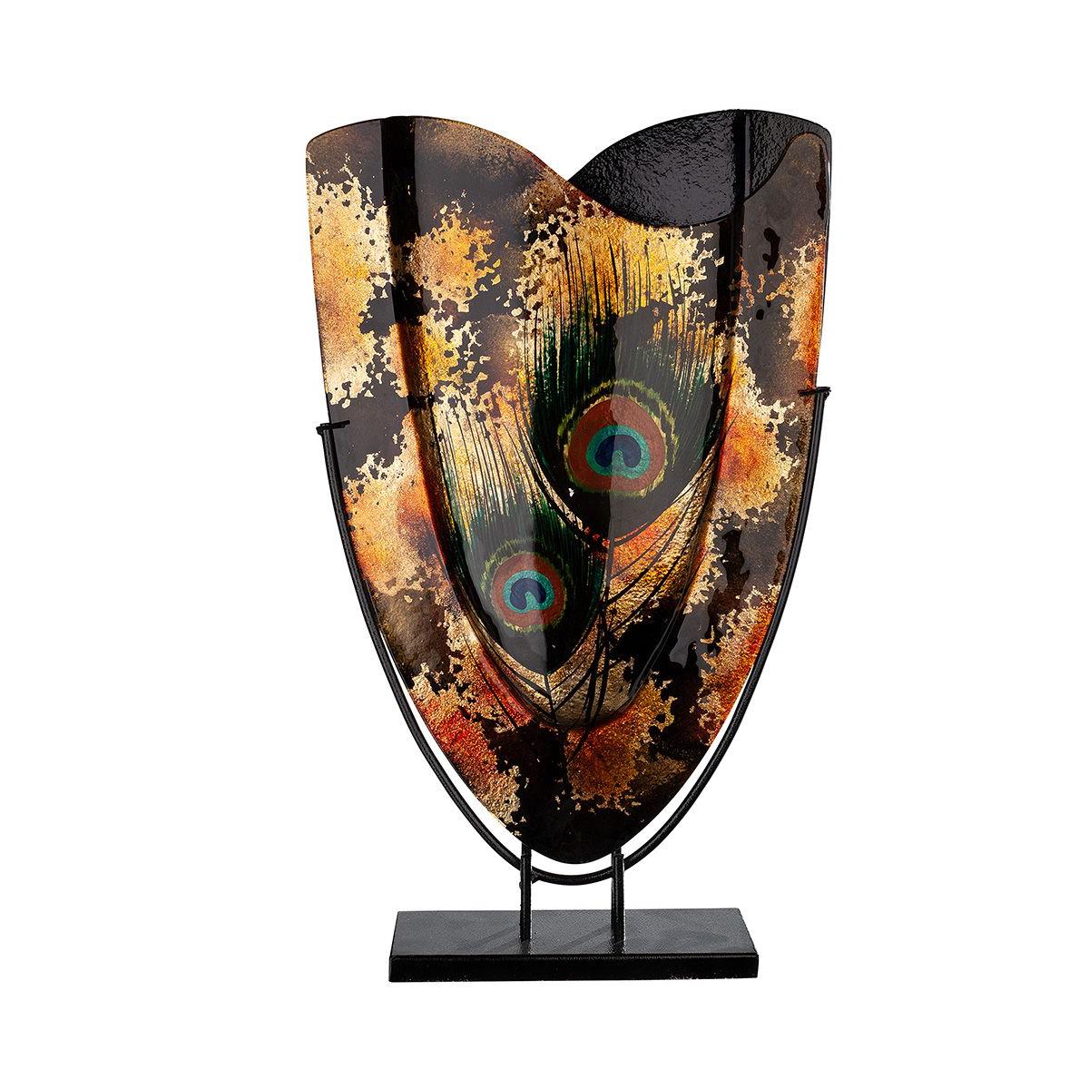 Design glas handbeschilderd vaas hoog 'Peacock'