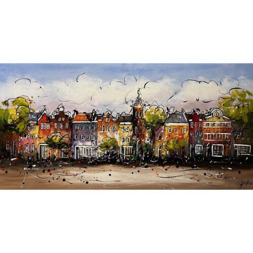 Casper van Houten schilderij 'Grachtenpanden'
