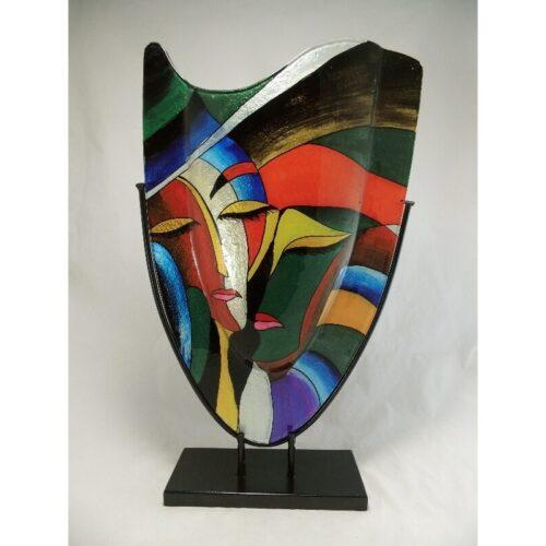 Design glas handbeschilderd vaas hoog 'Faces'