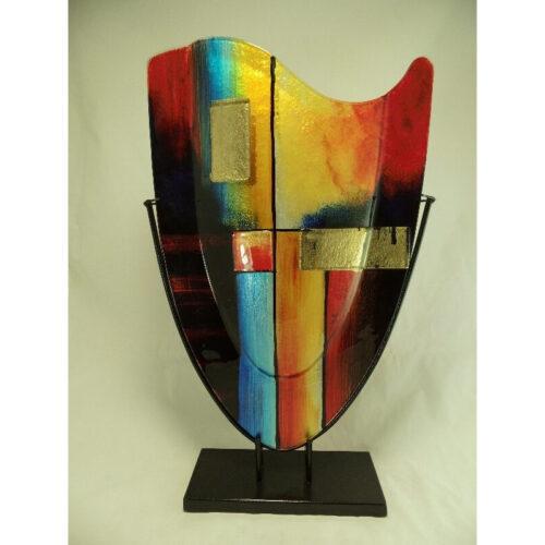 Design glas handbeschilderd vaas hoog 'Fire'